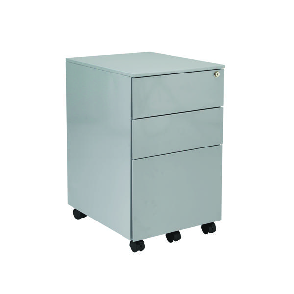Unspecified Jemini Silver Mobile Steel 3 Drawer Pedestal KF74155