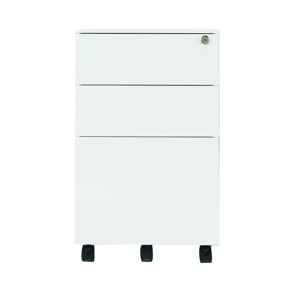 Unspecified Jemini White Mobile Steel 3 Drawer Pedestal KF74156