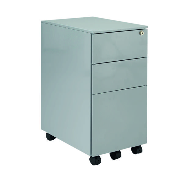 Unspecified Jemini Silver Mobile Steel 3 Drawer Pedestal Slimline KF74157