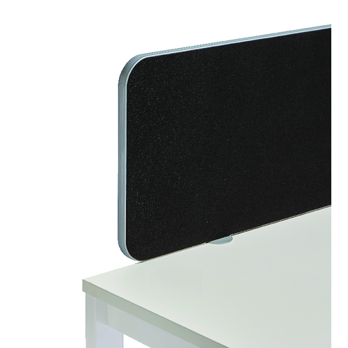 Desk Jemini Silver Trim Black 1800mm Straight Rounded Corner Screen KF74255