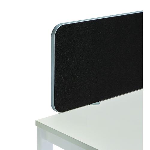 Desk Jemini Silver Trim Black 1800mm Straight Rounded Corner Screen KF74255