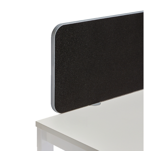 Jemini Silver Trim Black 1000mm Straight Rounded Corner Screen KF74259