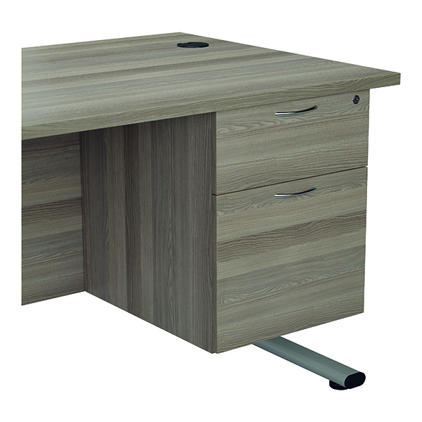 Two Drawer Jemini 655 Fixed Pedestal 2 Drawer Grey Oak KF74413