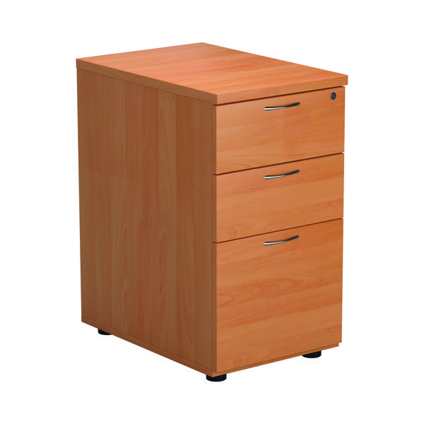 Three Drawer First Desk High Pedestal 3 Drawer 600mm Depth Beech TESDHP3BE2