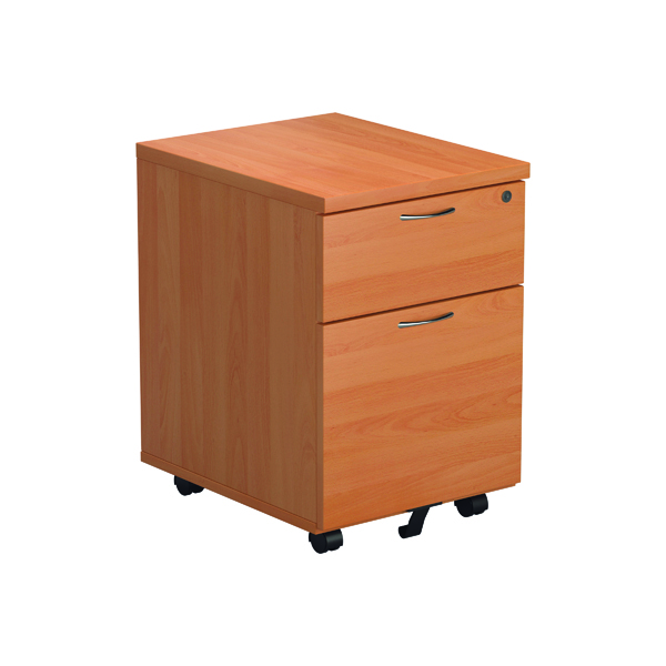 Two Drawer FF Jemini Beech 2 Drawer Mobile Pedestal Version 2 TESMP2BE2