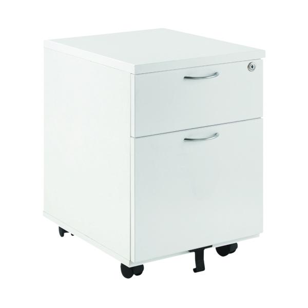 Two Drawer First Mobile Under Desk Pedestal 2 Door White KF74765