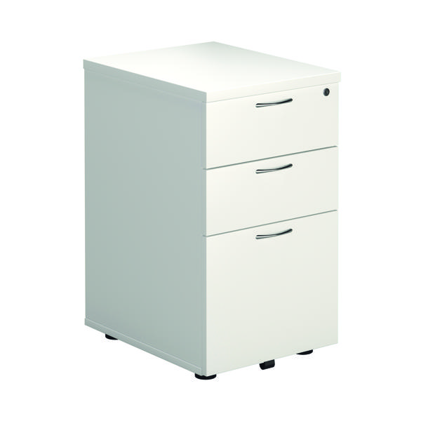 Three Drawer First Tall Under Desk Pedestal 3 Drawer White KF74835