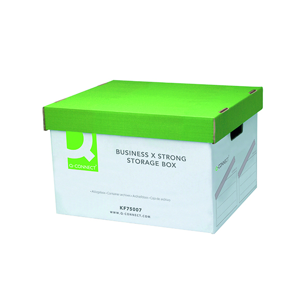 Q-Connect Extra Strong Business Storage Box W327xD387xH250mm Green and White (10 Pack) KF75007