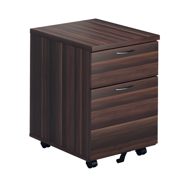 Two Drawer Jemini Walnut 2 Drawer Mobile Pedestal KF78942