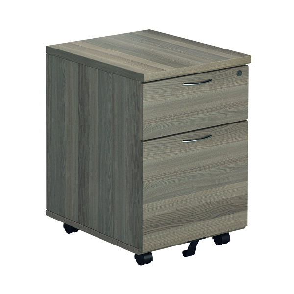 Two Drawer Jemini Grey Oak 2 Drawer Mobile Pedestal KF78943