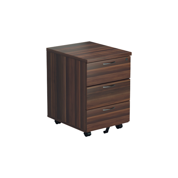 Three Drawer Jemini Walnut 3 Drawer Mobile Pedestal KF78944