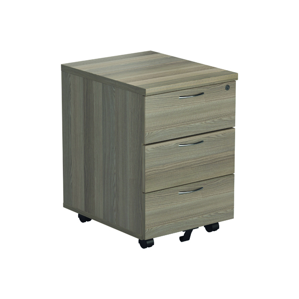 Three Drawer Jemini Grey Oak 3 Drawer Mobile Pedestal KF78945