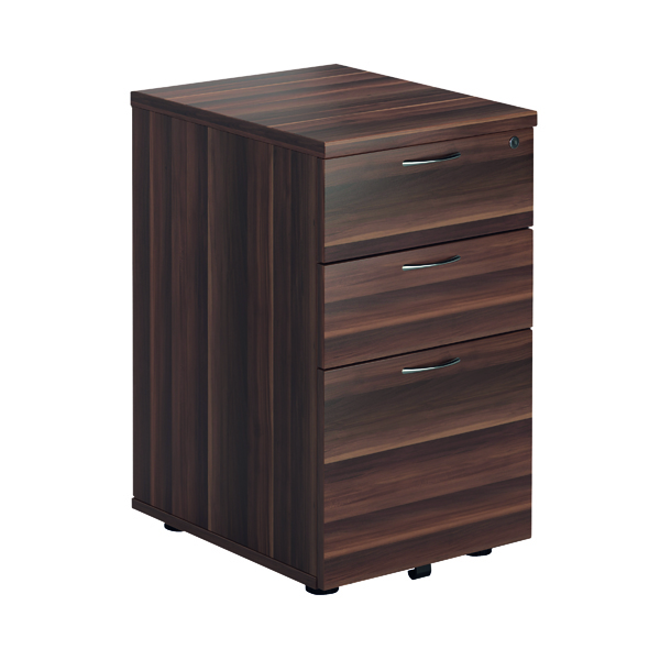Three Drawer Jemini Walnut 3 Drawer Tall Mobile Pedestal KF78946