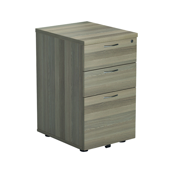 Three Drawer Jemini Grey Oak 3 Drawer Tall Mobile Pedestal KF78947
