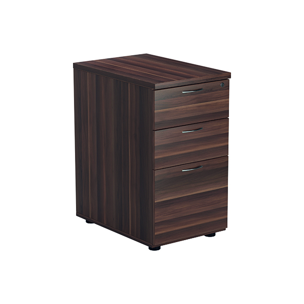 Three Drawer Jemini Walnut 3 Drawer Desk High Pedestal D600 KF78948