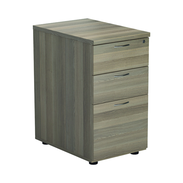 Three Drawer Jemini Grey Oak 3 Drawer Desk High Pedestal D600 KF78949