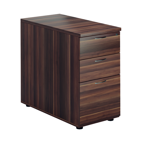 Three Drawer Jemini Walnut 3 Drawer Desk High Pedestal D800 KF78950