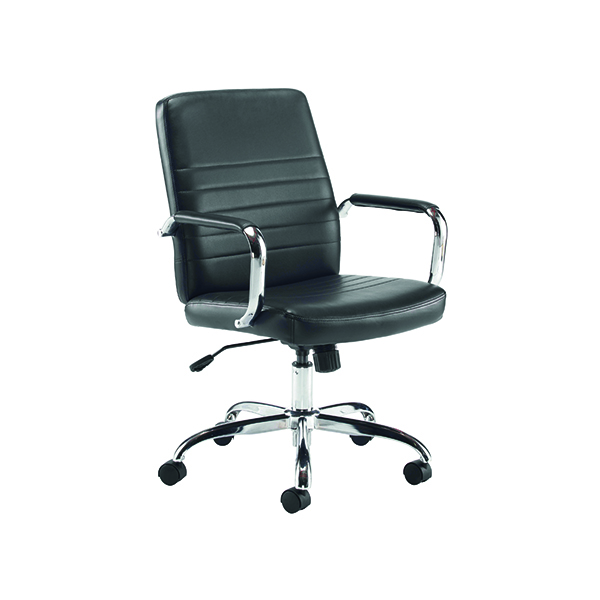 High Back Jemini Amalfi Leather Look Meeting Chair Black KF79135