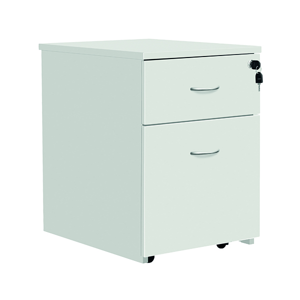Two Drawer Serrion Eco 18 2 Drawer Mobile Pedestal White KF79825