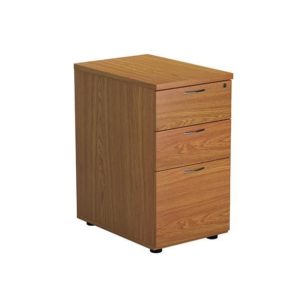 3 Drawer Jemini Nova Oak 3 Drawer Desk High Ped 600  TESDHP3NO