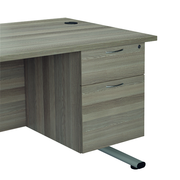 Two Drawer FF Jemini Grey Oak 2 Drawer Fixed Pedestal TESHP2GO