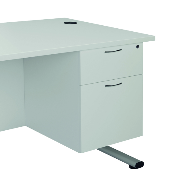 Two Drawer FF Jemini White 2 Drawer Fixed Pedestal 2 Drawer TESHP2WH