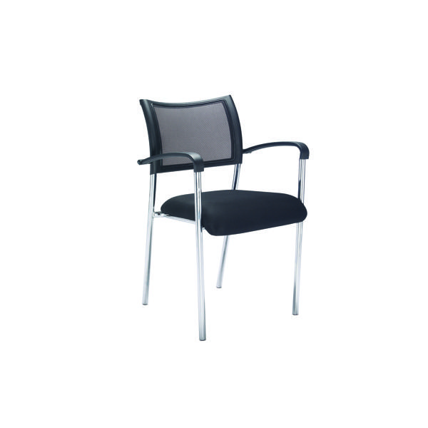 Reception Chairs Jemini Jupiter Mesh Back Conference 4 Leg Armchair Chrome Frame KF79891