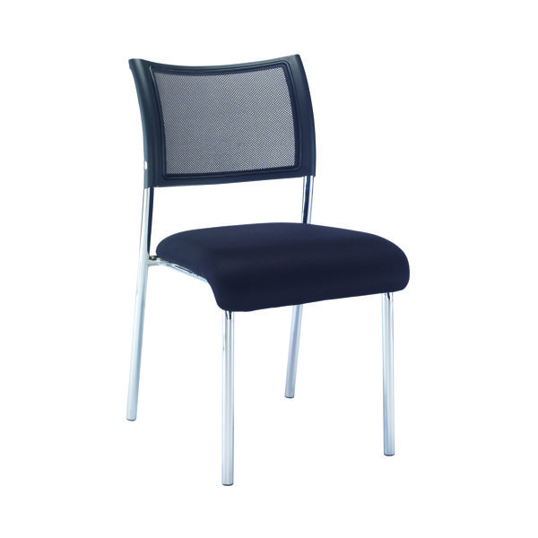 Chairs without Arms Jemini Jupiter Mesh Back Conference 4 Leg Side Chair Chrome Frame KF79892