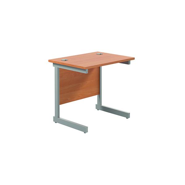 Rectangular Jemini Single Rectangular Cantilever Desk 800x600mm Beech/Silver KF800289