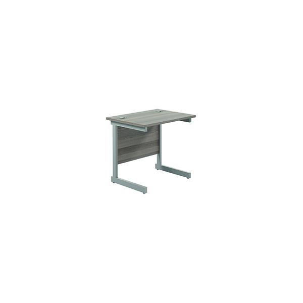 Rectangular Jemini Single Rectangular Cantilever Desk 800x600mm Grey Oak/Silver KF800295