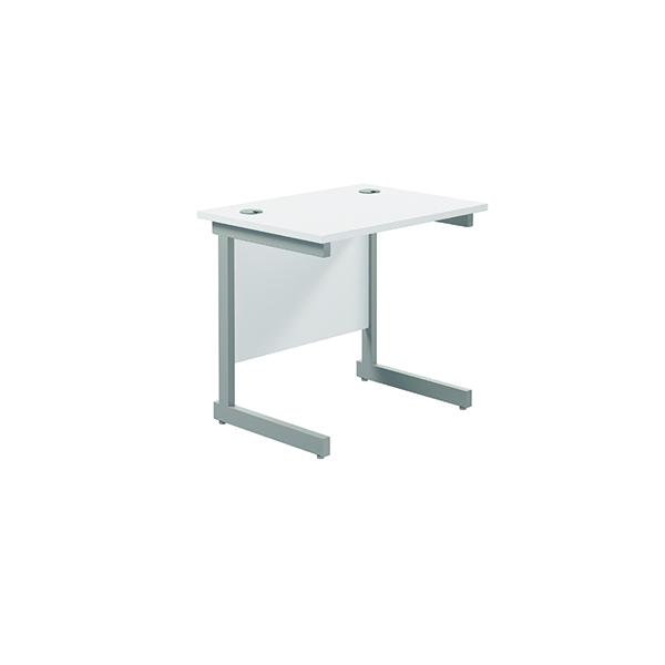 Rectangular Jemini Single Rectangular Cantilever Desk 800x600mm White/Silver KF800316