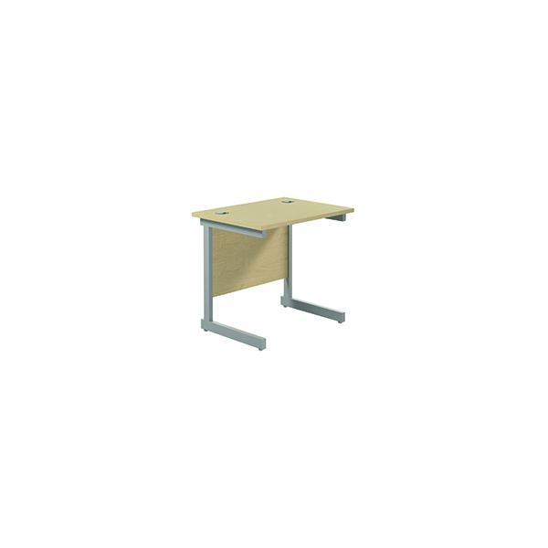 Rectangular Jemini Single Rectangular Cantilever Desk 800x600mm Maple/Silver KF800322