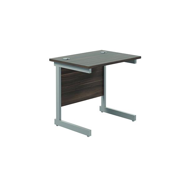Rectangular Jemini Single Rectangular Cantilever Desk 800x600mm Dark Walnut/Silver KF800335