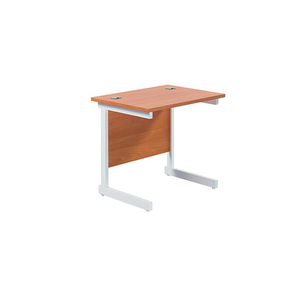 Rectangular Jemini Single Rectangular Cantilever Desk 800x600mm Beech/White KF800341