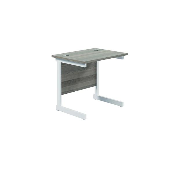 Rectangular Jemini Single Rectangular Cantilever Desk 800x600mm Grey Oak/White KF800357