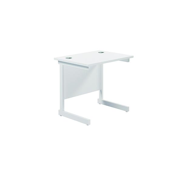Rectangular Jemini Single Rectangular Cantilever Desk 800x600mm White/White KF800379