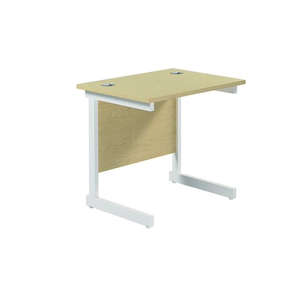 Rectangular Jemini Single Rectangular Cantilever Desk 800x600mm Maple/White KF800385