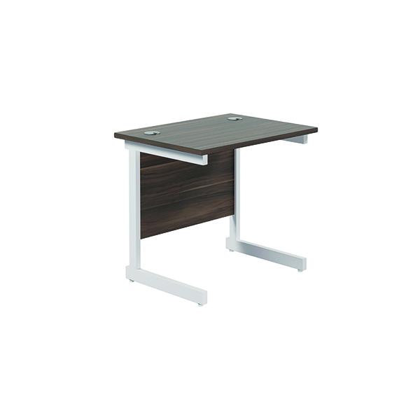 Rectangular Jemini Single Rectangular Cantilever Desk 800x600mm Dark Walnut/White KF800391