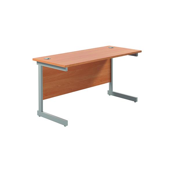 Rectangular Jemini Single Rectangular Cantilever Desk 1200x600mm Beech/Silver KF800406