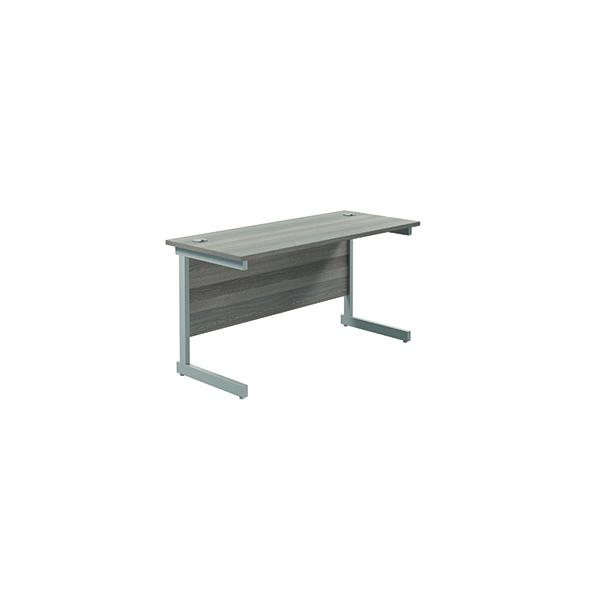 Rectangular Jemini Single Rectangular Cantilever Desk 1200x600mm Grey Oak/Silver KF800412