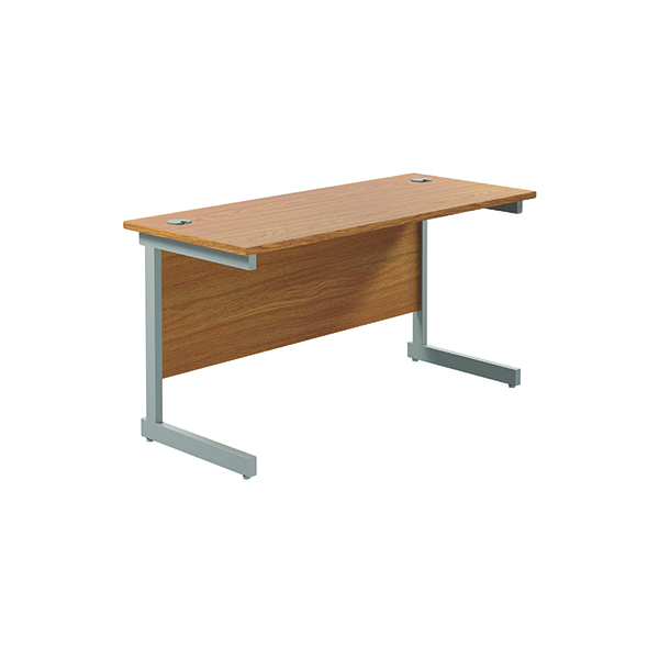 Rectangular Jemini Single Rectangular Cantilever Desk 1200x600mm Nova Oak/Silver KF800428