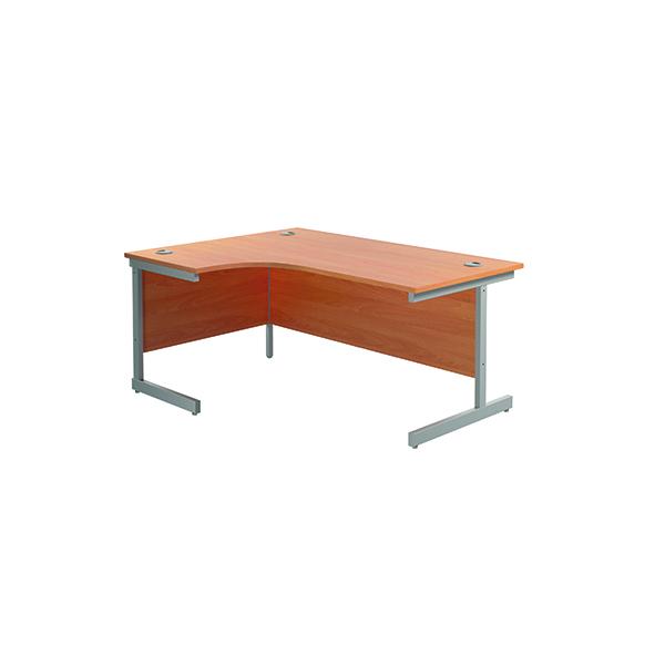Radial Jemini Left Hand Radial Cantilever Desk 1600x1200mm Beech/Silver KF801721