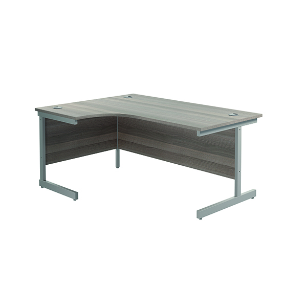Radial Jemini Left Hand Radial Cantilever Desk 1600x1200mm Grey Oak/Silver KF801734