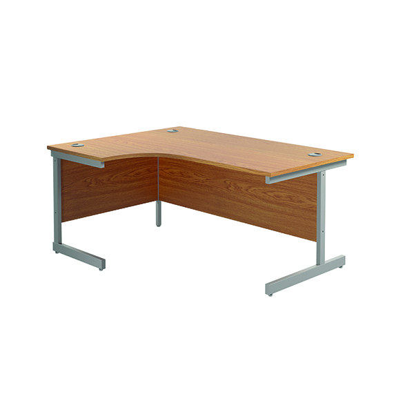 Radial Jemini Left Hand Radial Cantilever Desk 1600x1200mm Nova Oak/Silver KF801740