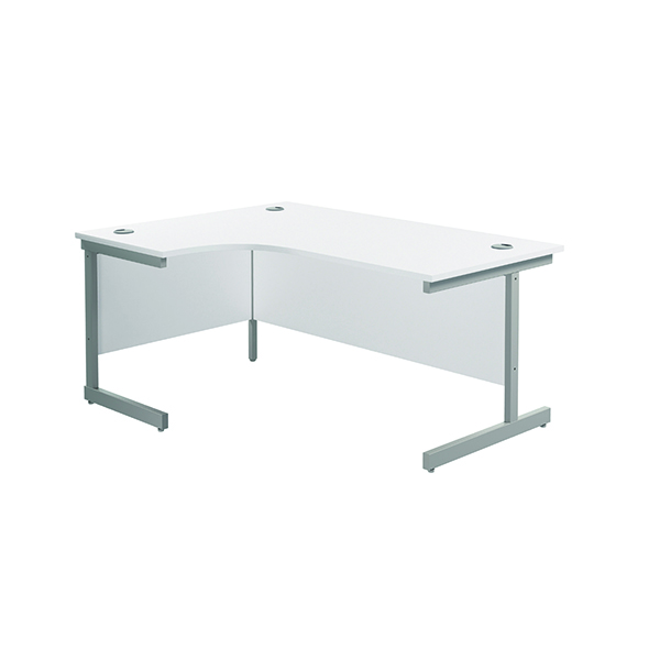 Radial Jemini Left Hand Radial Cantilever Desk 1600x1200mm White/Silver KF801756