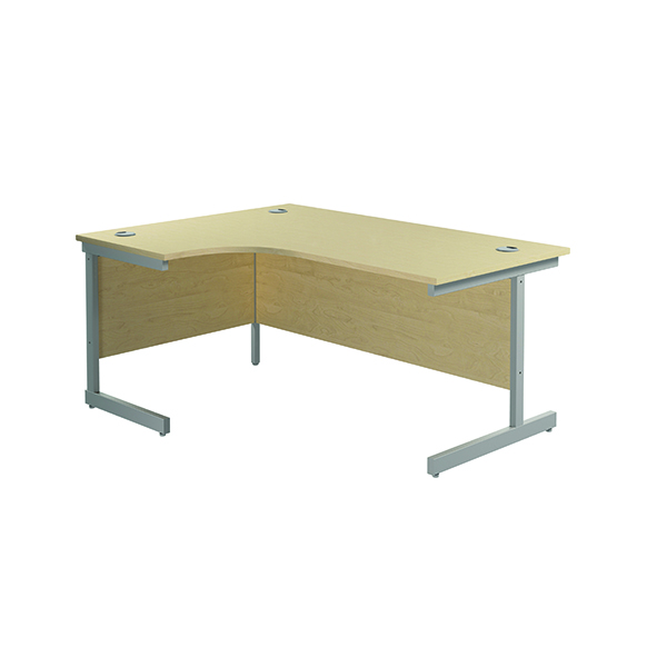 Radial Jemini Left Hand Radial Cantilever Desk 1600x1200mm Maple/Silver KF801762