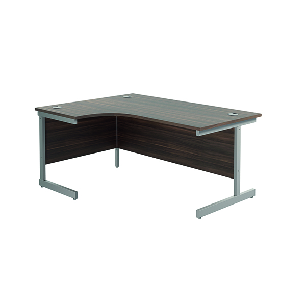 Radial Jemini Left Hand Radial Cantilever Desk 1600x1200mm Dark Walnut/Silver KF801778