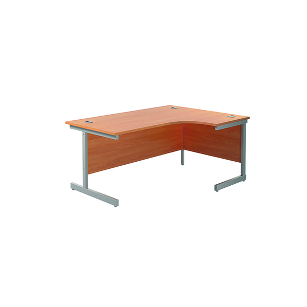 Radial Jemini Right Hand Radial Cantilever Desk 1600x1200mm Beech/Silver KF801784
