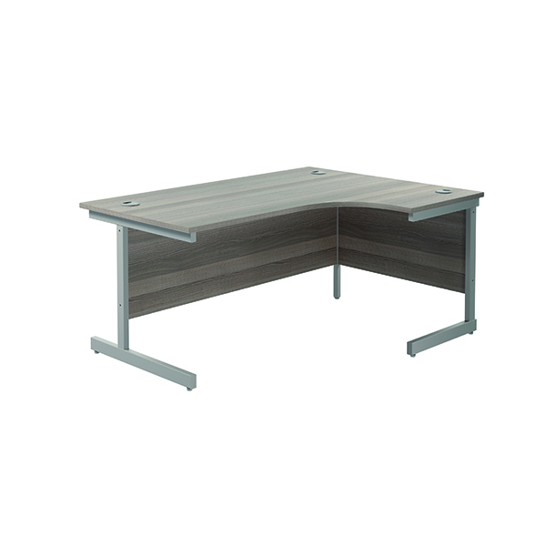 Radial Jemini Right Hand Radial Cantilever Desk 1600x1200mm Grey Oak/Silver KF801790