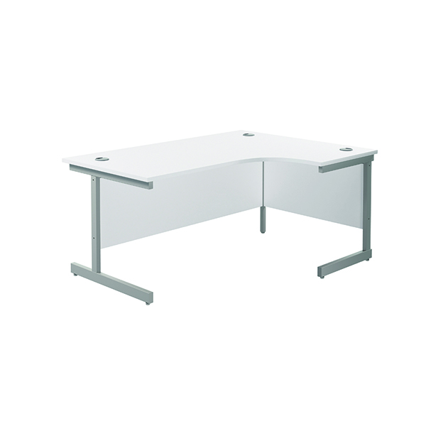 Radial Jemini Right Hand Radial Cantilever Desk 1600x1200mm White/Silver KF801811